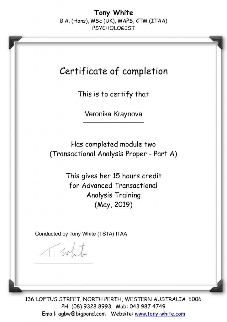 Module 2 certificate  Part A